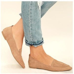 ISSABELLA - Taupe Slip On Pointed Toe Flat